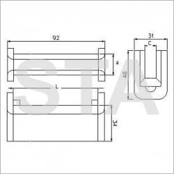 Fiam topping rails type polyurethane 8.5 mm 80x20 mm