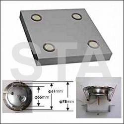 Plafond standard 600x600 2 ou 4 spots à leds 220 V précablé inox