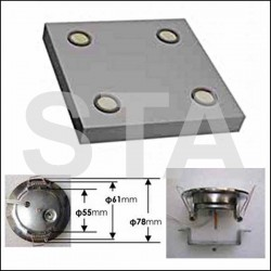 Plafond standard 400x400 2 ou 4 spots à leds 220 V précablé laqué blanc